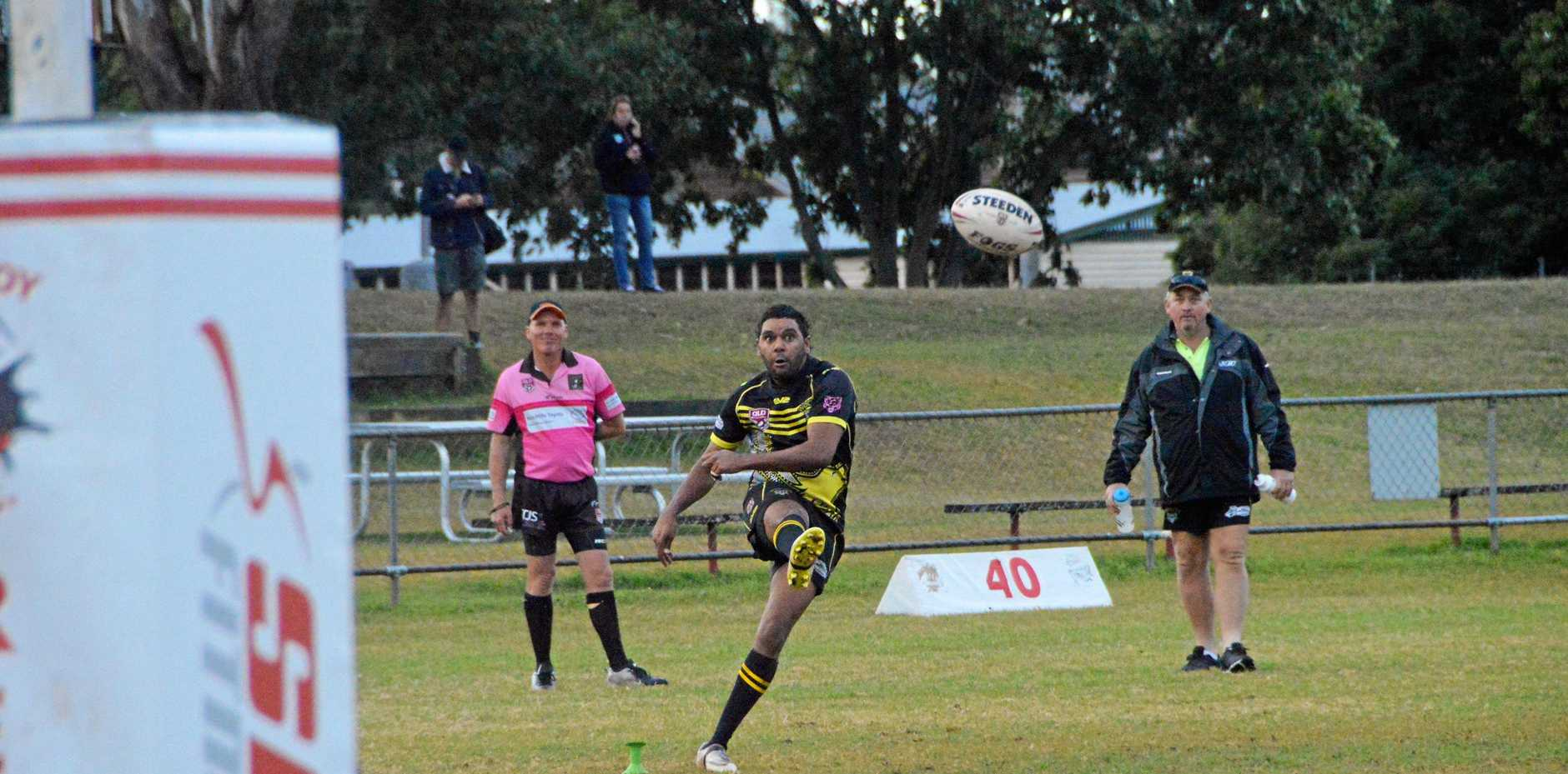 ON FORM: Elroy Alberts kicks the conversion for Wondai against Cherbourg.