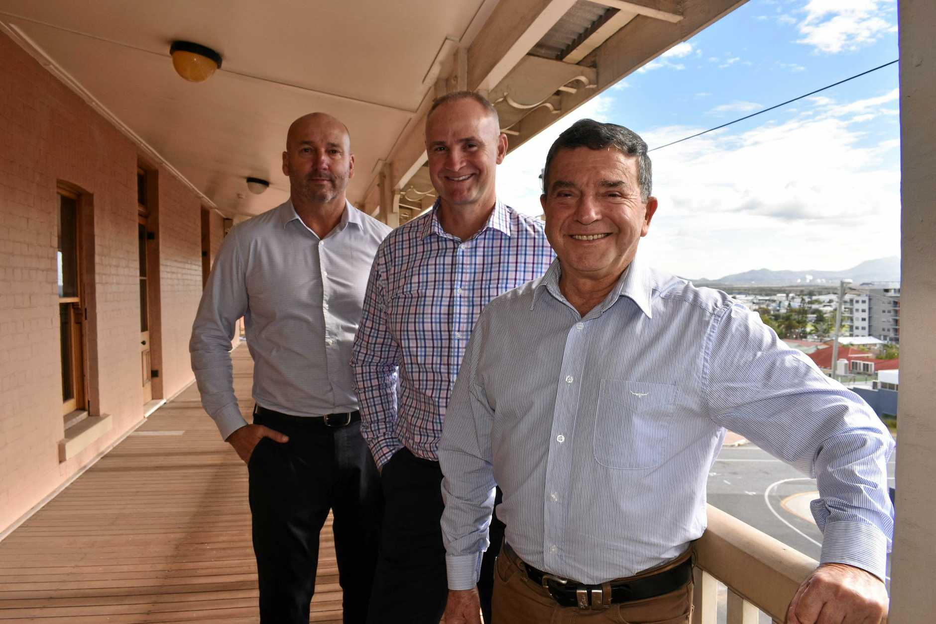 BULK SMILES: Gladstone Ports Corporation acting chief executive officer Craig Walker, Member for Gladstone Glenn Butcher and GPC chairman Peter Corones are happy with  GPC's 2018-19 financial year results.