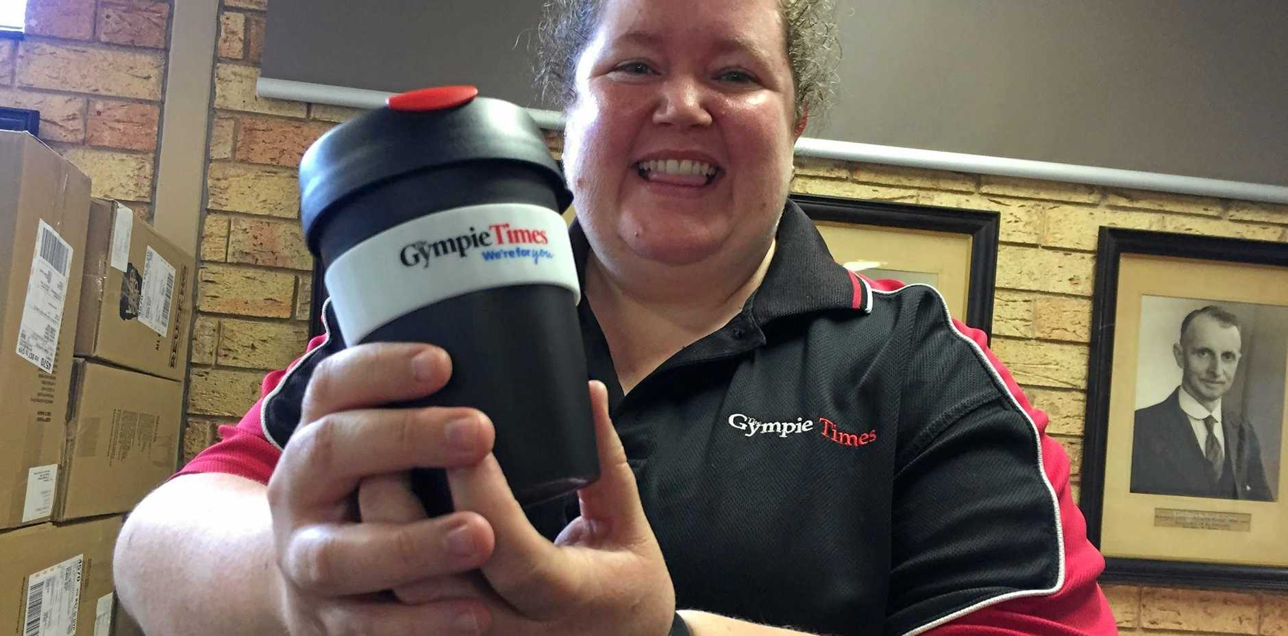 Renee King with The Gympie Times keep cup