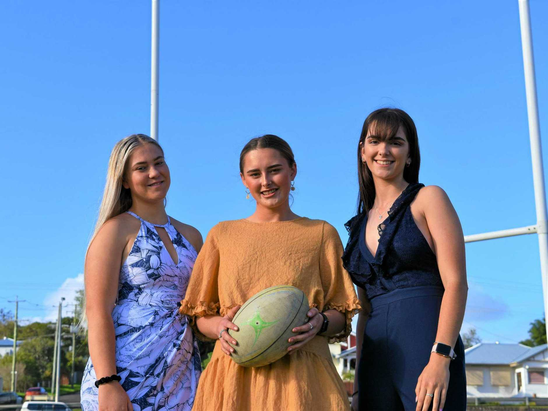 Ready for the Hammer's Ladies Day are (from left) Savanah Brown, Taylor Jardine and Lilli Crumblin.