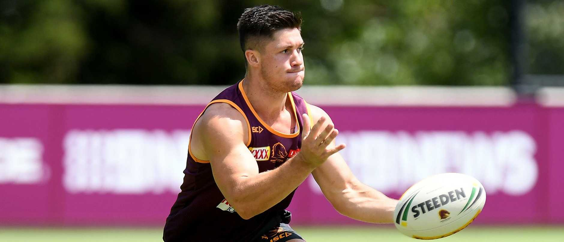 Corey Paix in Broncos training.