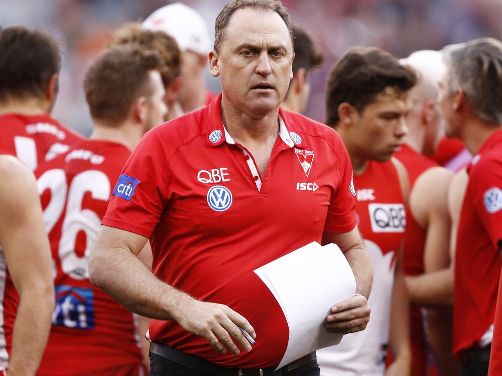 Swans head coach John Longmire after addressing his players on the weekend.