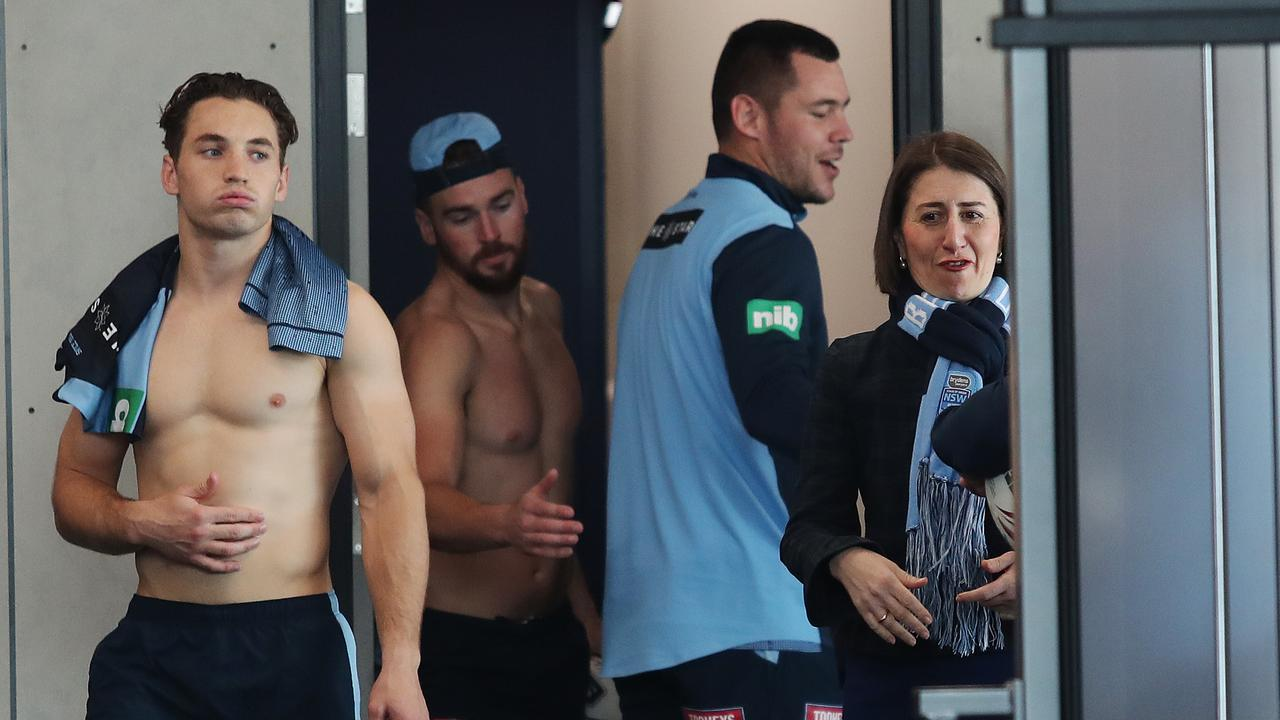 NSW Premier Gladys Berejiklian gets to see the Blues in action. Image: Brett Costello