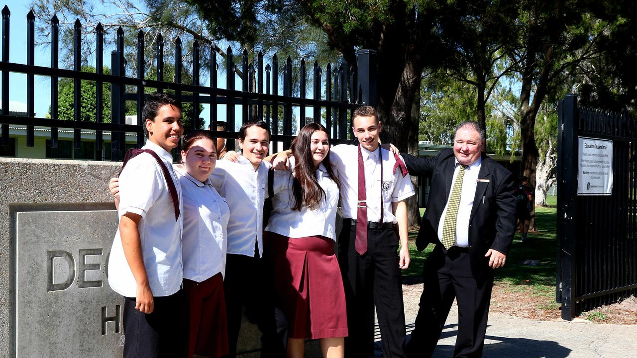 Deception Bay State High School Year 12 students celebrating the end of the year with Principal David Friis. Picture: Peter Cronin