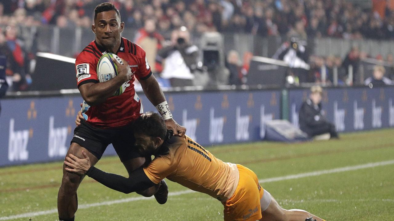 Crusaders winger Sevu Reece in action during the Super Rugby final.
