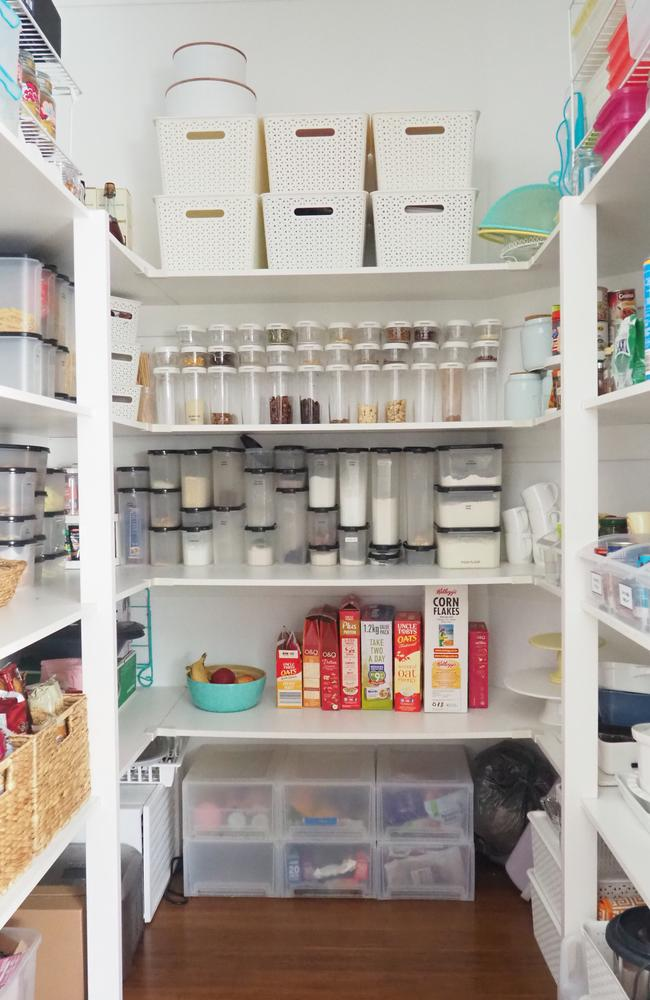 The busy mum used every square inch of her pantry's storage space to its fullest potential.