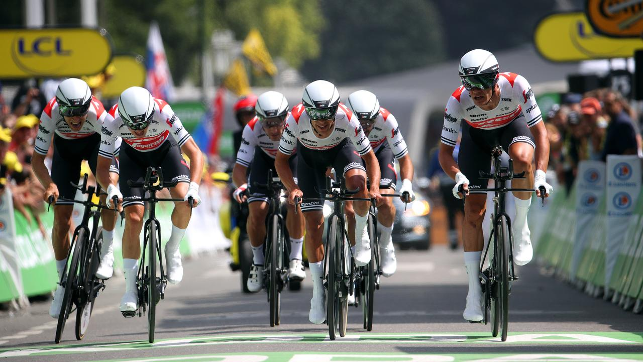 Richie Porte and his Team Trek-Segafredo sprint for the finish line of the Team Time Trial stage from Bruxelles Palais Royal to Brussels Atomium. Picture: Chris Graythen/Getty Images
