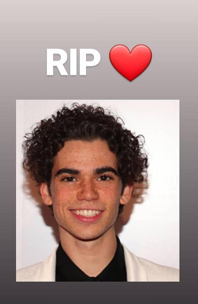 Stranger Things star Millie Bobby Brown paid a simple tribute to Cameron Boyce on Instagram. Picture: Instagram