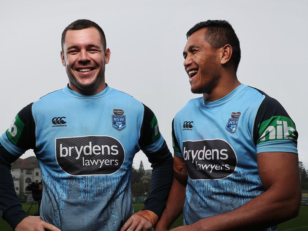 David Klemmer and Daniel Saifiti joke at Blues training.