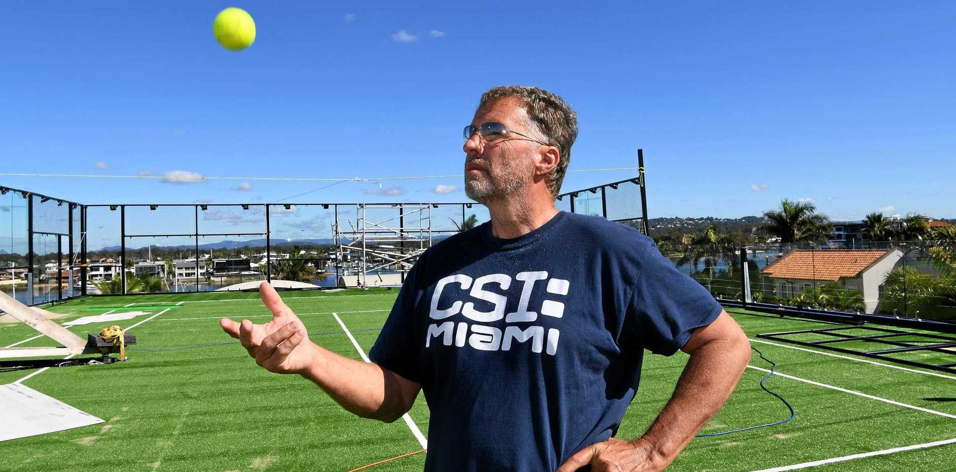 Dwyer Quality Homes owner Wayne Dwyer is building a tennis court on top of his Minyama Island home.