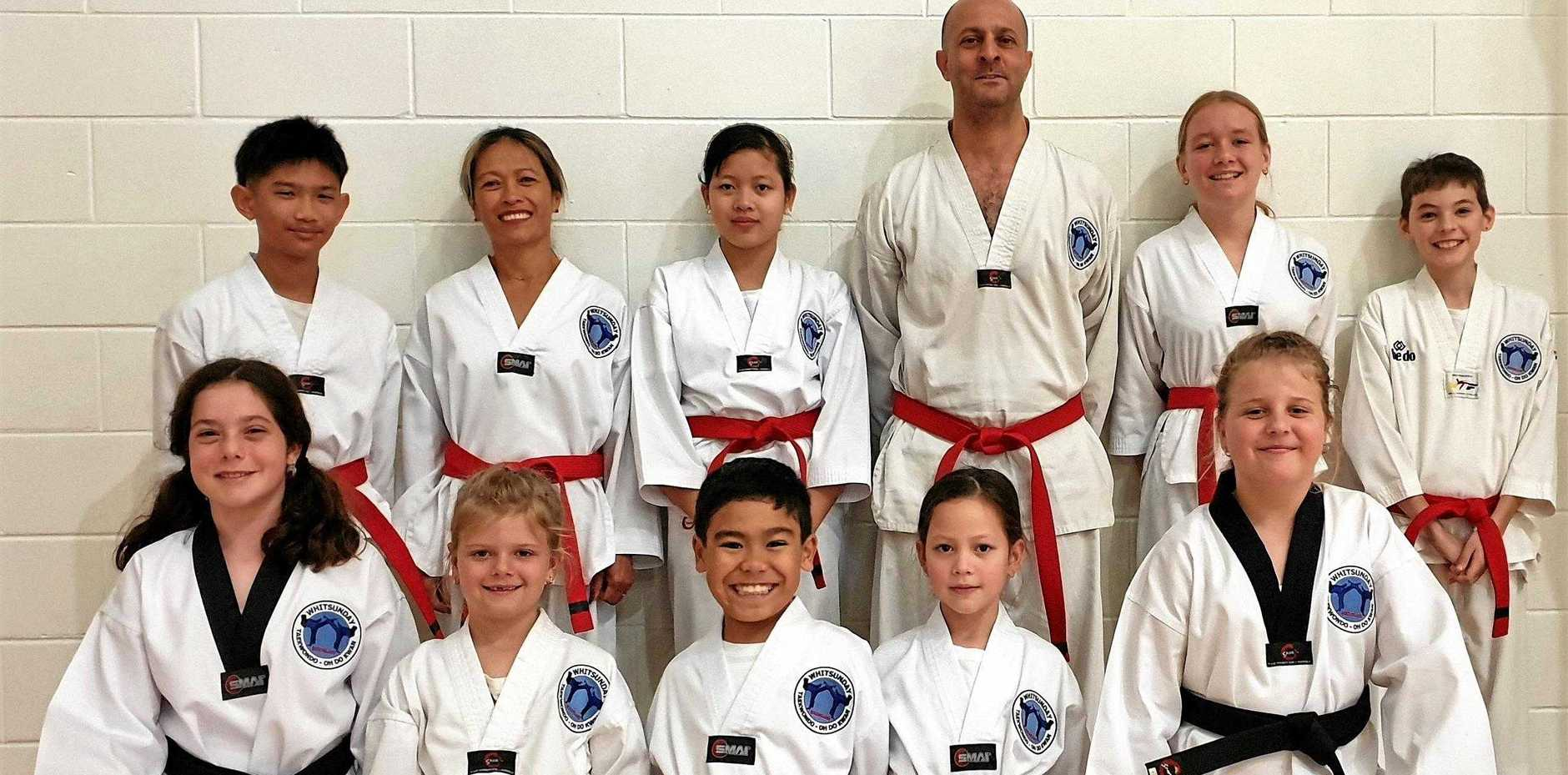 Whitsunday Taekwondo students (back) Jack Hosking, Marivic Gaskin, Feywer White, Sebastian Foti, Joan-Maree Spicer, Tavis McDonald, (front) Chiara Foti, Imogen Howard, Jai Patrick, Alisara White and Chelsea Howard at their recent grading.