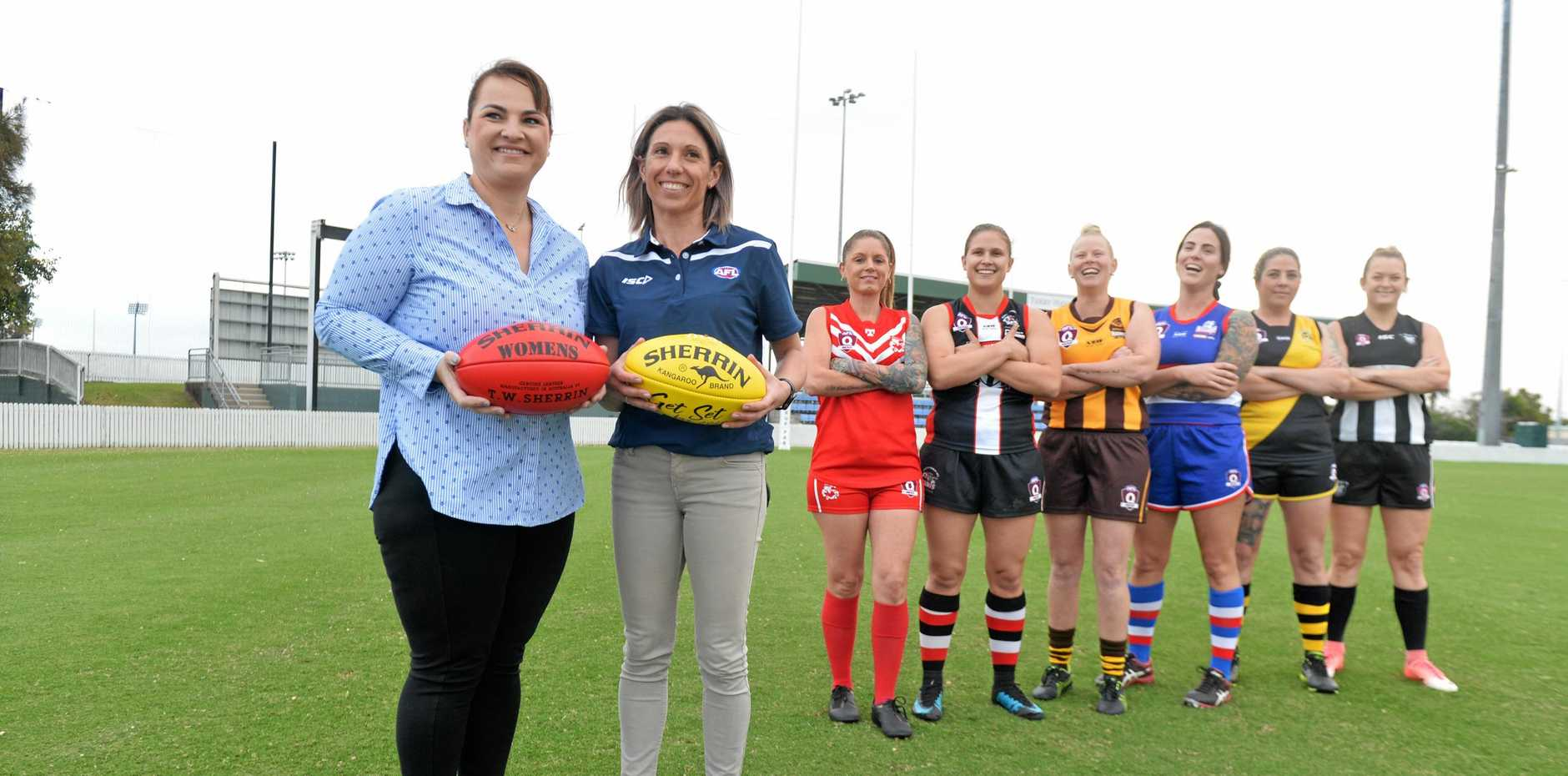 McDonalds local licensee, Niki Ramsay and new Mackay AFL competition manager Christina Likos announcing the partnership between Mackay AFL and McDonalds.