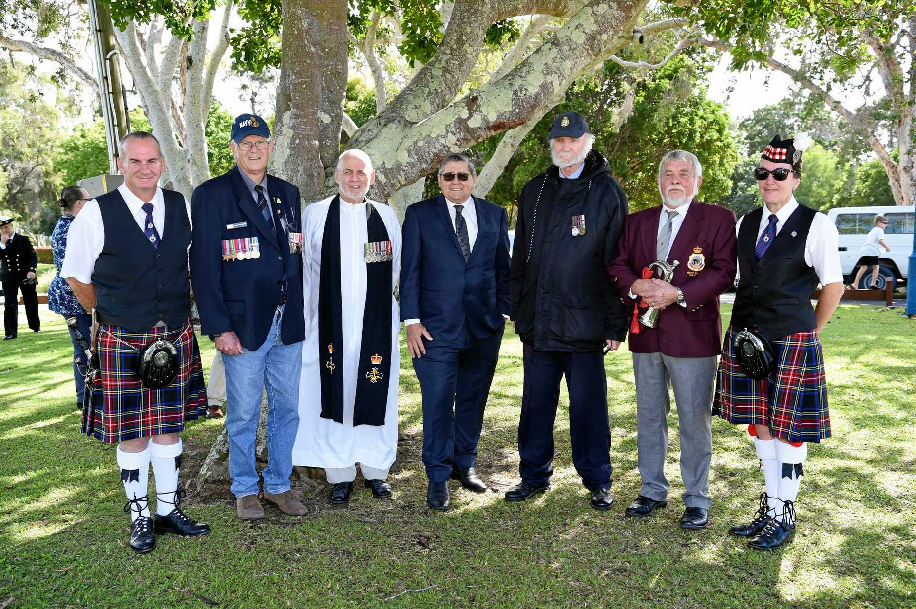 TRAGIC LOSS: Hugh McBroom, Peter McDermott, Jeff Jarvis, Ted Sorensen, John Holmes, Geoff Harper and Belinda McBroom at the Operation Rimau service at the Krait Memorial.