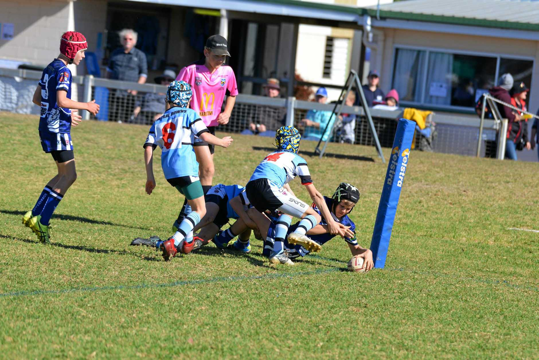 Alex Beresford dives to score a try for Cunnamulla in a win against Central Downs in the zone 5 under-43kg rugby league carnival at Platz Oval, Clifton. The carnival goes to Friday.