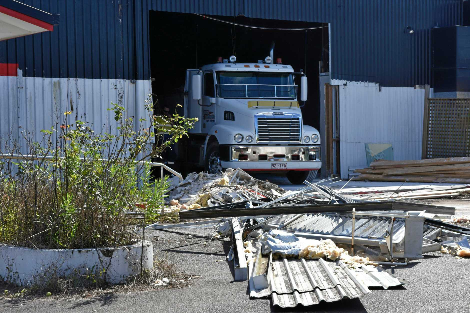 A tipper truck and excavator were operating inside the former Skillcentred building yesterday.