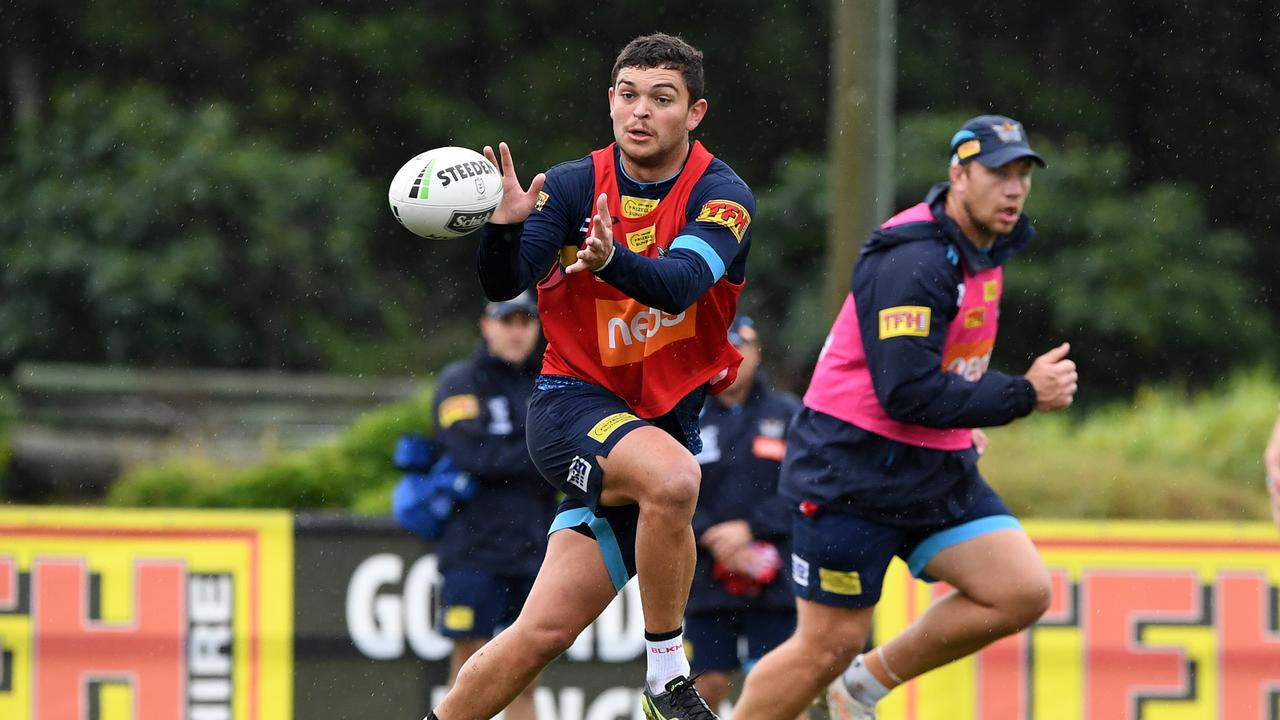 Ashley Taylor is seen during the Gold Coast Titans training session on the Gold Coast, Wednesday, June 26, 2019. (AAP Image/Dave Hunt) NO ARCHIVING
