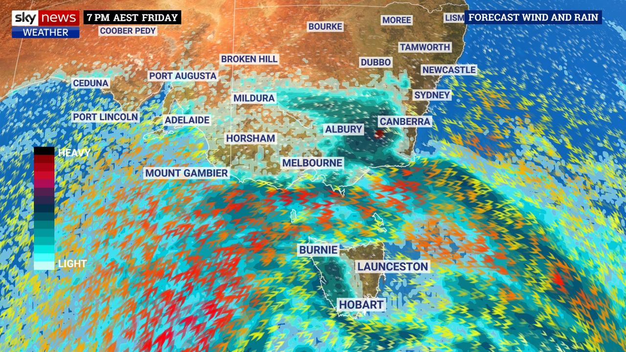 Three cold fronts in quick succession will bring heavy rain and winds to southeast Australia. The red arrows are gale-force winds. Picture: Sky News Weather