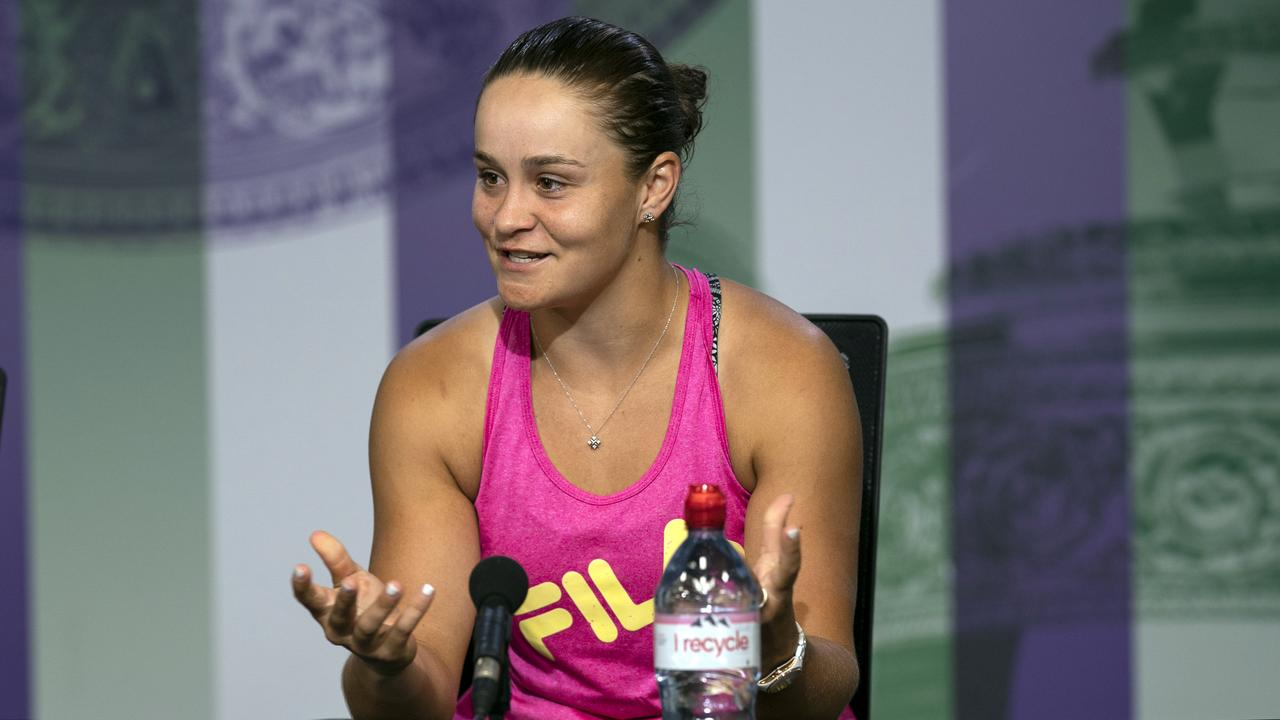 """The sun's still going to come up tomorrow..."" Ash Barty at the press conference after her fourth round Wimbledon loss to Alison Riske. Picture: AP"
