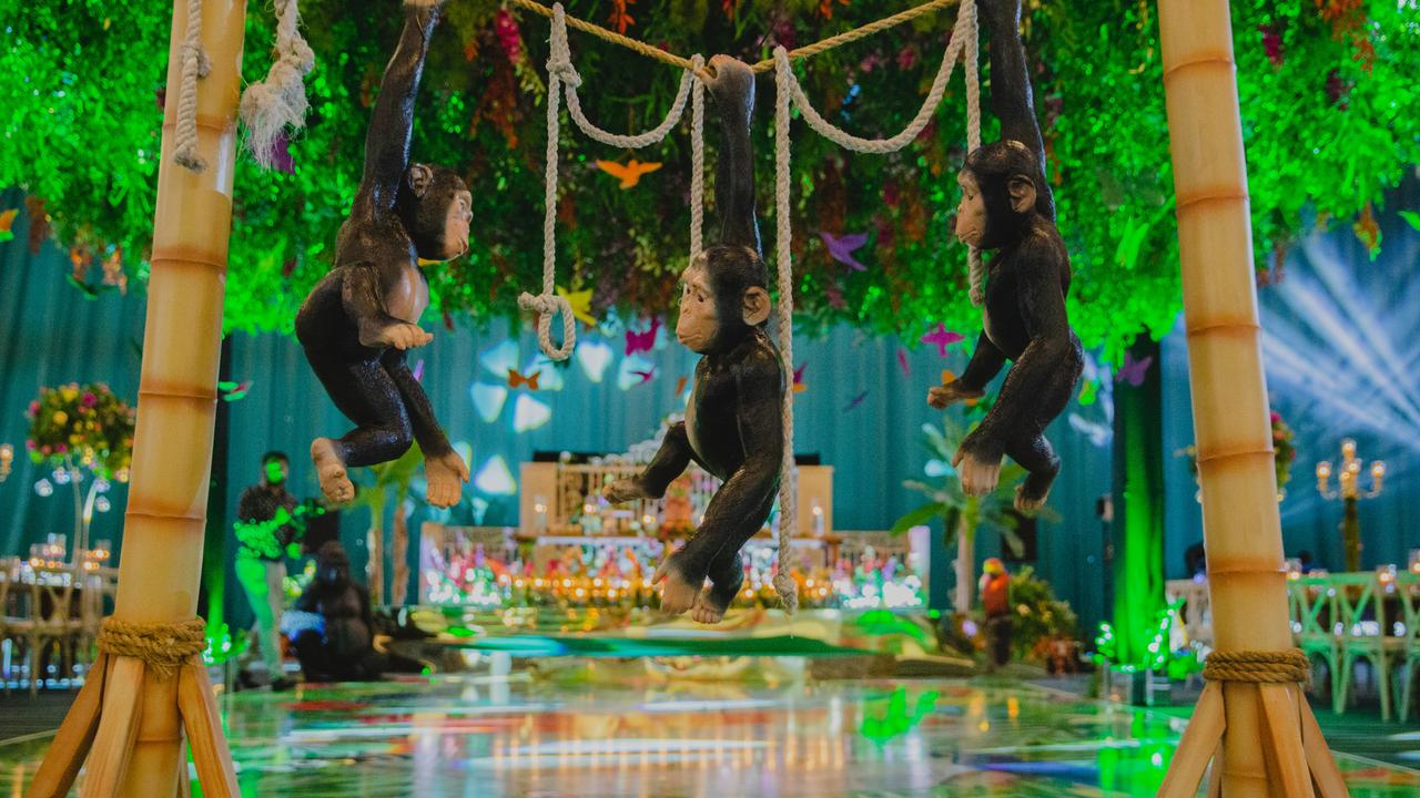 The 'Amazonian-inspired' birthday featured an enchanted jungle theme with swinging monkeys. Picture: Splash News