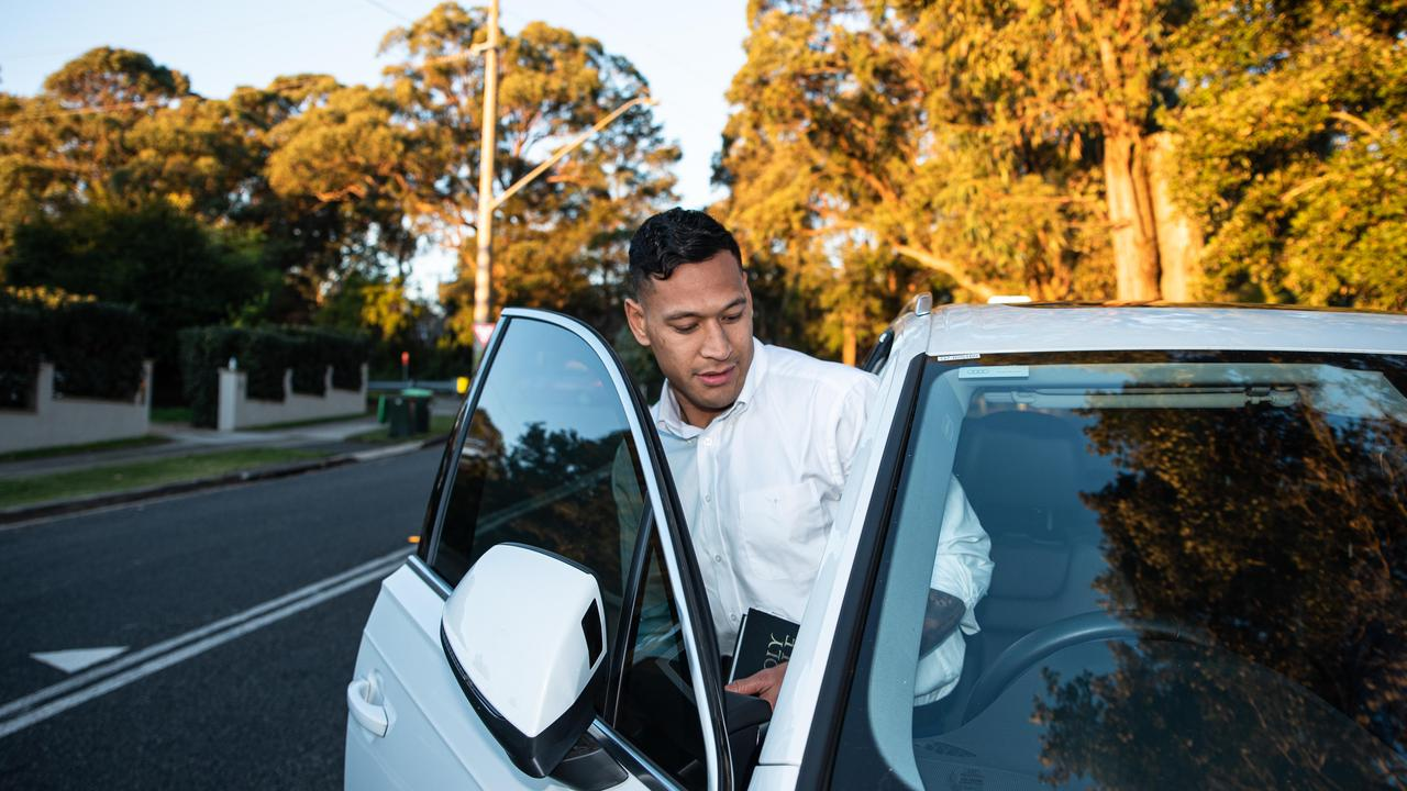Israel Folau leaves the Kenthurst Uniting Church. Picture: Flavio Brancaleone
