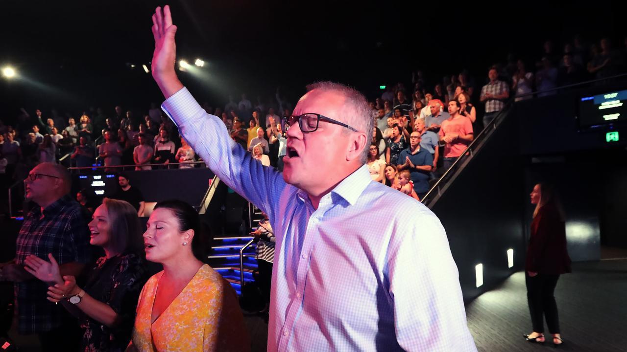 Scott Morrison in church. How dare he pray.