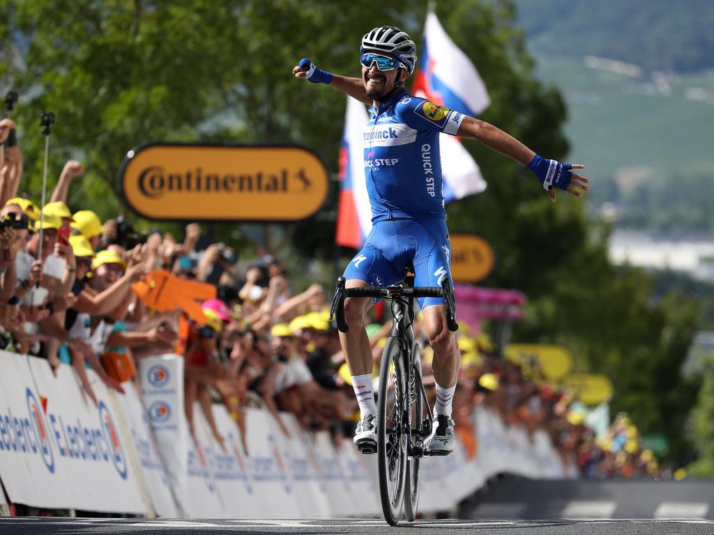 Julian Alaphilippe of France and Team Deceuninck — Quick-Step celebrates his stage win. Picture: Chris Graythen/Getty Images