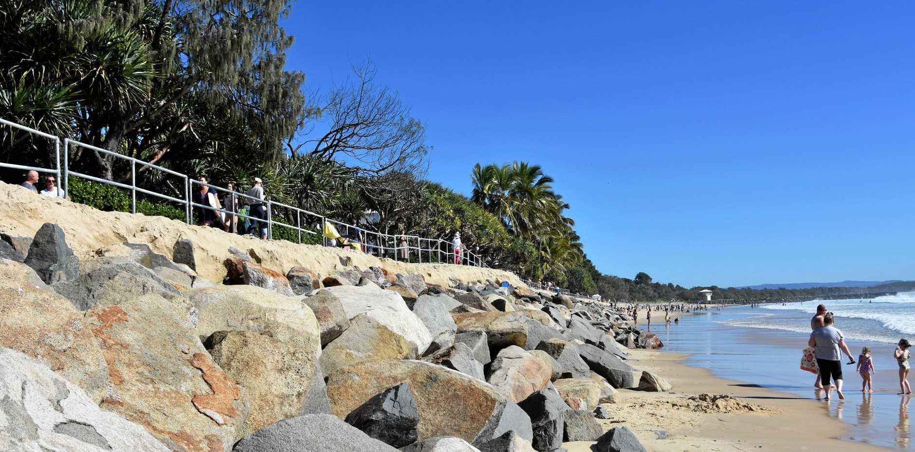 EROSION: It's deja vu at Noosa Main Beach as recent huge swell has once again striped sand from the beach.
