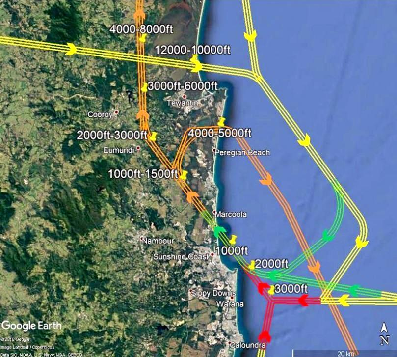 FLIGHT PATHS: Proposed flight paths for arrivals and departures on Runway 31.