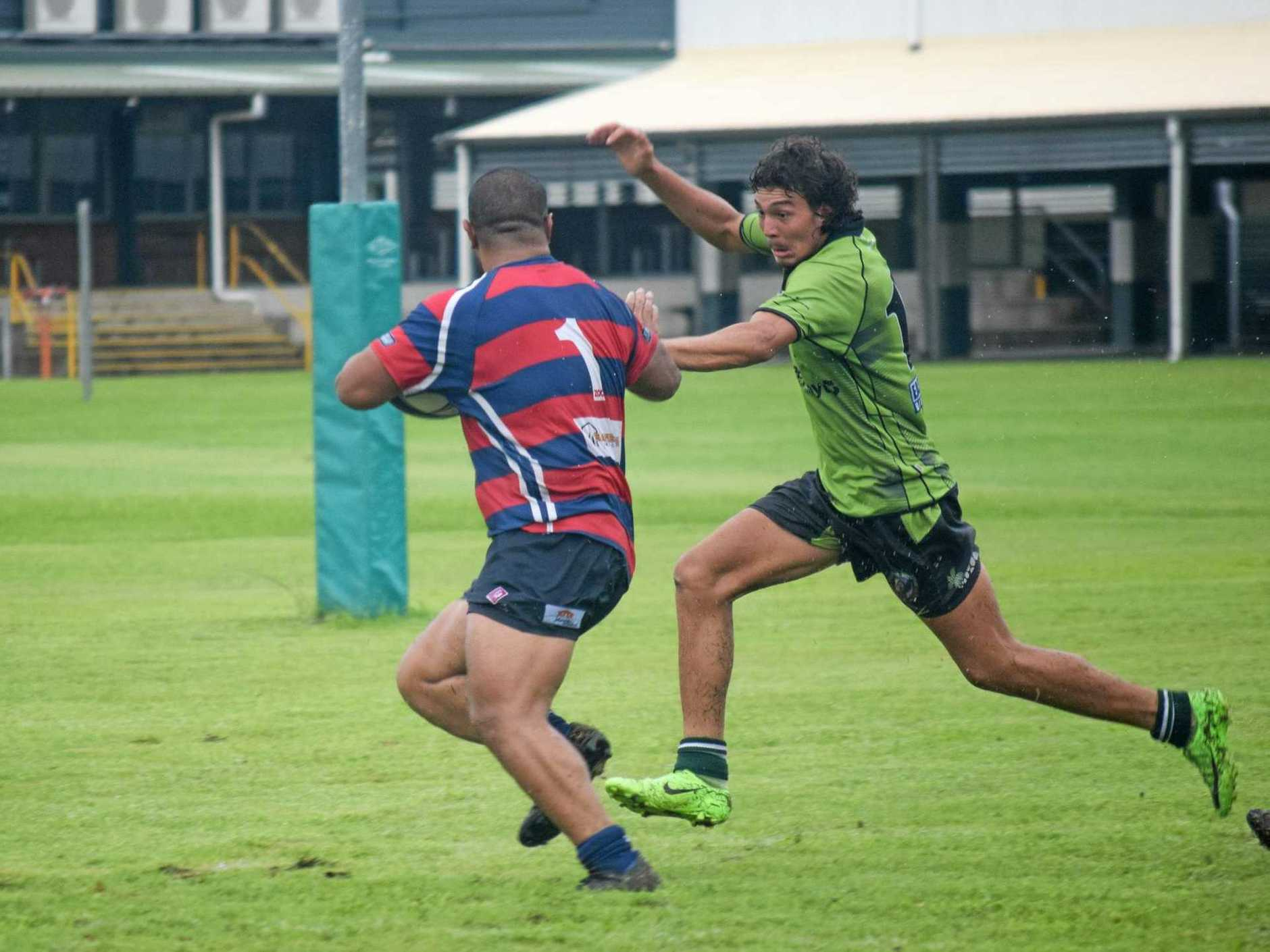 Proserpine/Whitsunday Raiders' Hone Casey-Bloomer chases Mackay City opponent Junior So.