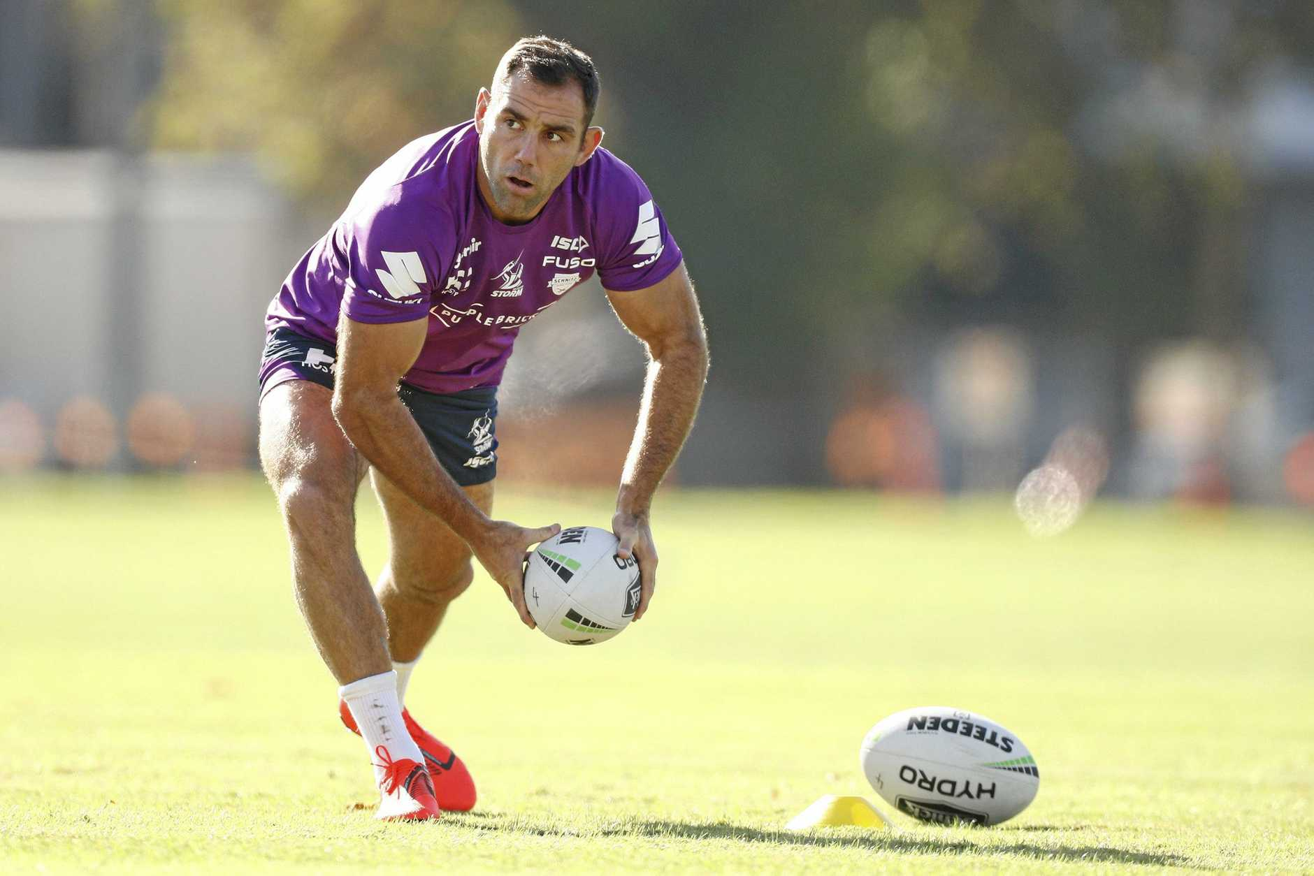 Cameron Smith is seen during a Melbourne Storm training session at Gosch's Paddock in Melbourne, Monday, March 18, 2019.  (AAP Image/Daniel Pockett) NO ARCHIVING