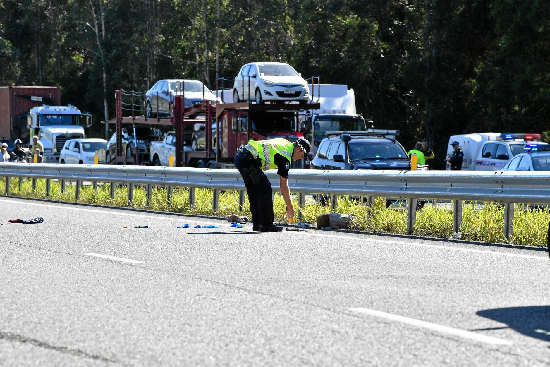 The police chased a car from north of Gympie and dozens of police apprehended a man near Parklands, just north of Nambour on the Bruce Highway. Traffic was stopped in both directions for several hours.