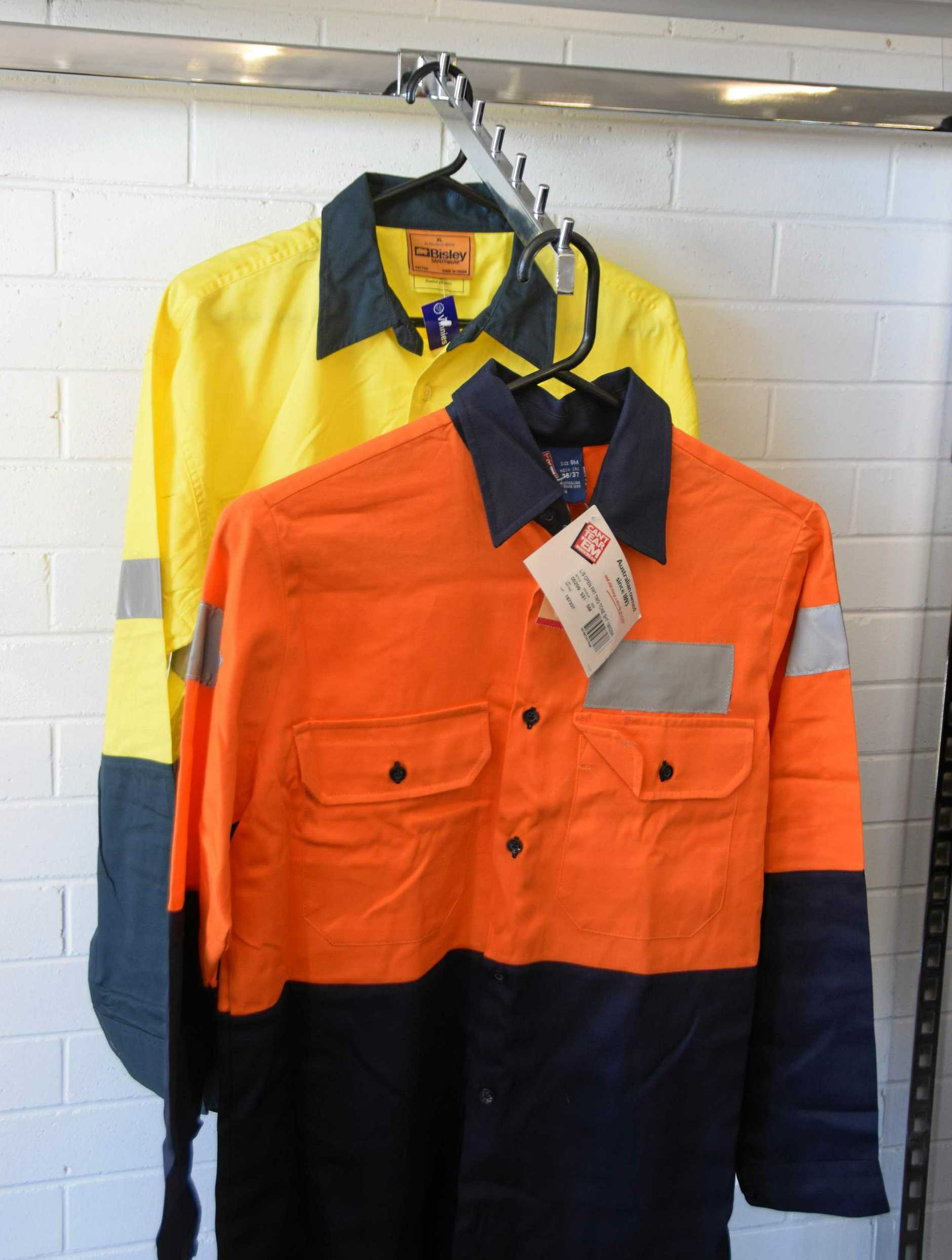 Vinnies men's work shirts yellow Bisley Safety Wear size XL $10, orange Can't Tear 'Em size SM $10