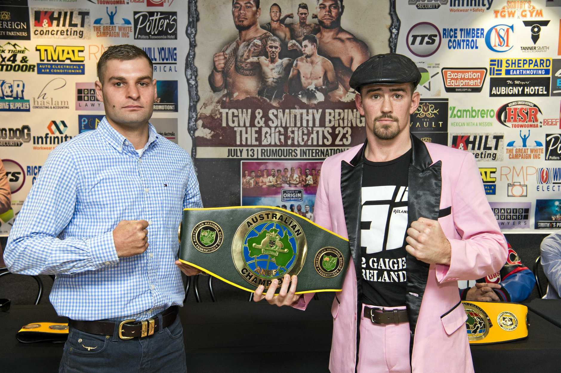 FIGHT NIGHT: Toowoomba's Brent Rice (left) and Gaige Ireland will fight for the Australian Lightweight Title on the TGW and Smith Bring The Big Fights 23 card at Rumours International this Saturday.