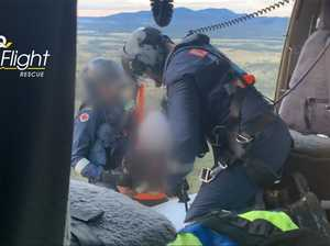 Helicopter winches sick teen from mountain top