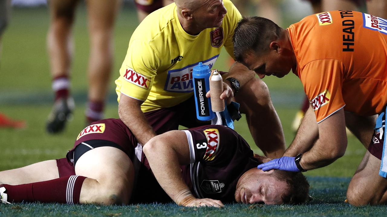 Michael Morgan was knocked out by an accidental Josh McGuire elbow. Picture: Ryan Pierse/Getty Images