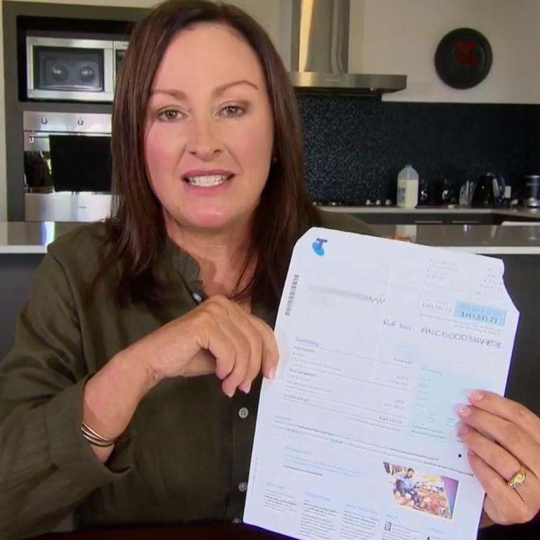 Mum's whopping Telstra bill. Picture: A Current Affair