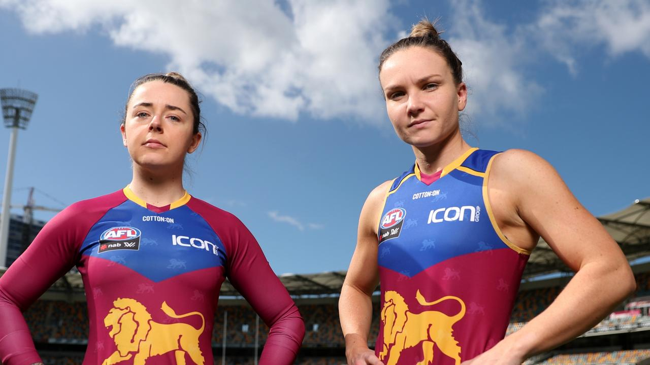 Brisbane Lions AFLW players Jess Wuetschner and Emily Bates at The Gabba. Picture - Peter Wallis