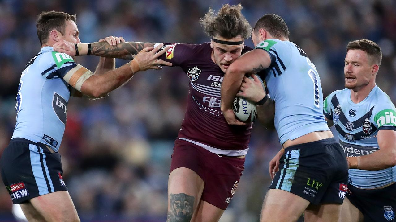 Ethan Lowe was superb on debut for the Maroons. Picture: Getty Images