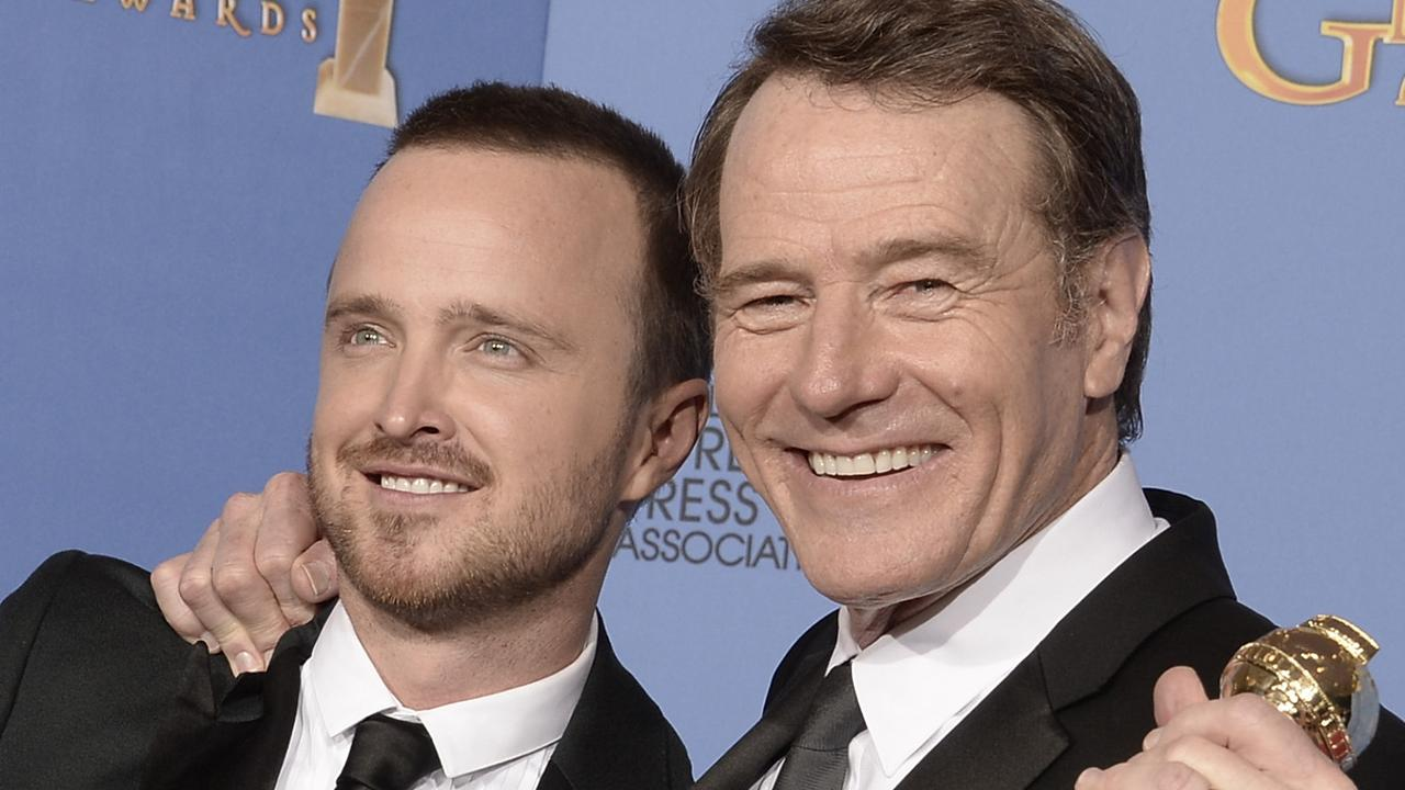DO NOT ARCHIVE... BEVERLY HILLS, CA - JANUARY 12:  Actors Aaron Paul (L) and Bryan Cranston, winners of Best Series    Drama for 'Breaking Bad,' pose in the press room during the 71st Annual Golden Globe Awards held at The Beverly Hilton Hotel on January 12, 2014 in Beverly Hills, California.  (Photo by Kevin Winter/Getty Images) Picture: Images Getty