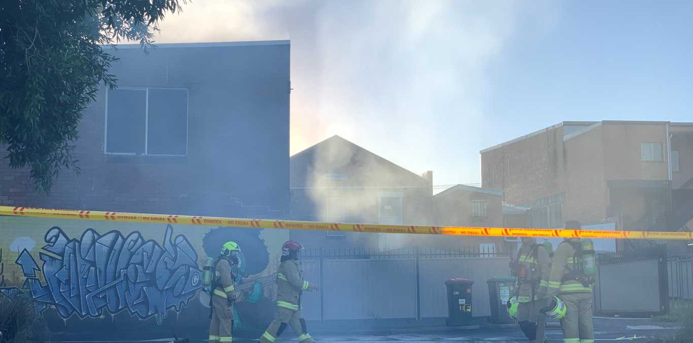 Fire and Rescue crews battle a blaze in the Lismore CBD.