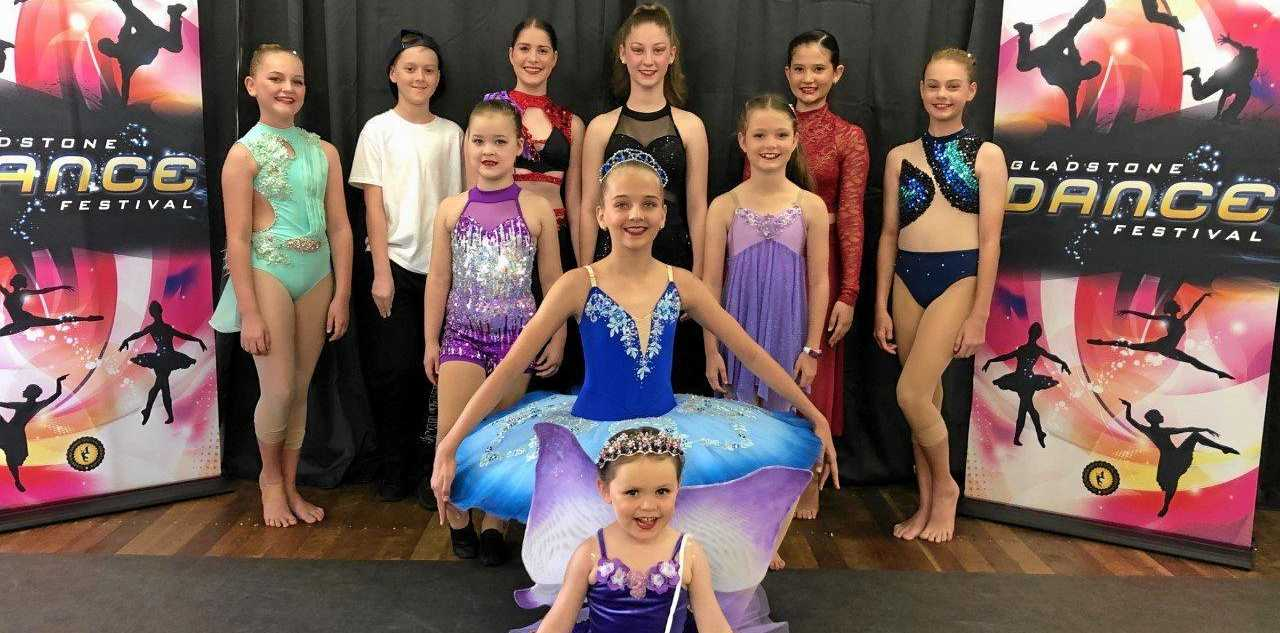 DANCE FEVER: Gladstone Dance students preparing for the dance festival this weekend. (Back): Mia Bye, Mitchell Stewart, Katarina Perkins, Sarah Kadel, Sienna Baker, Molly Hall. (Second row): Charlotte Hayes, Alexis Morrissy, Chelsea Rowe. (Front): Isla Barker.