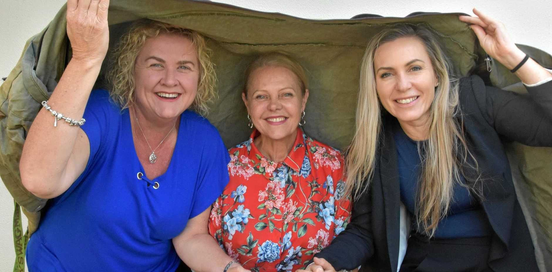 RAISING AWARENESS: Noosa MP Sandy Bolton (middle) will participate in the upcoming Vinnies Community Sleepout.