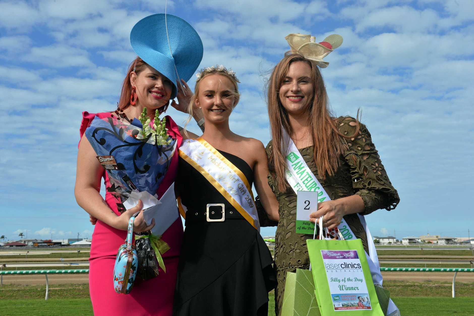 Mackay Turf Club's amateur race day fashion runner up Christine Ashby and winner Jayni Norman with Mackay Turf Girl Kianna Coyne.