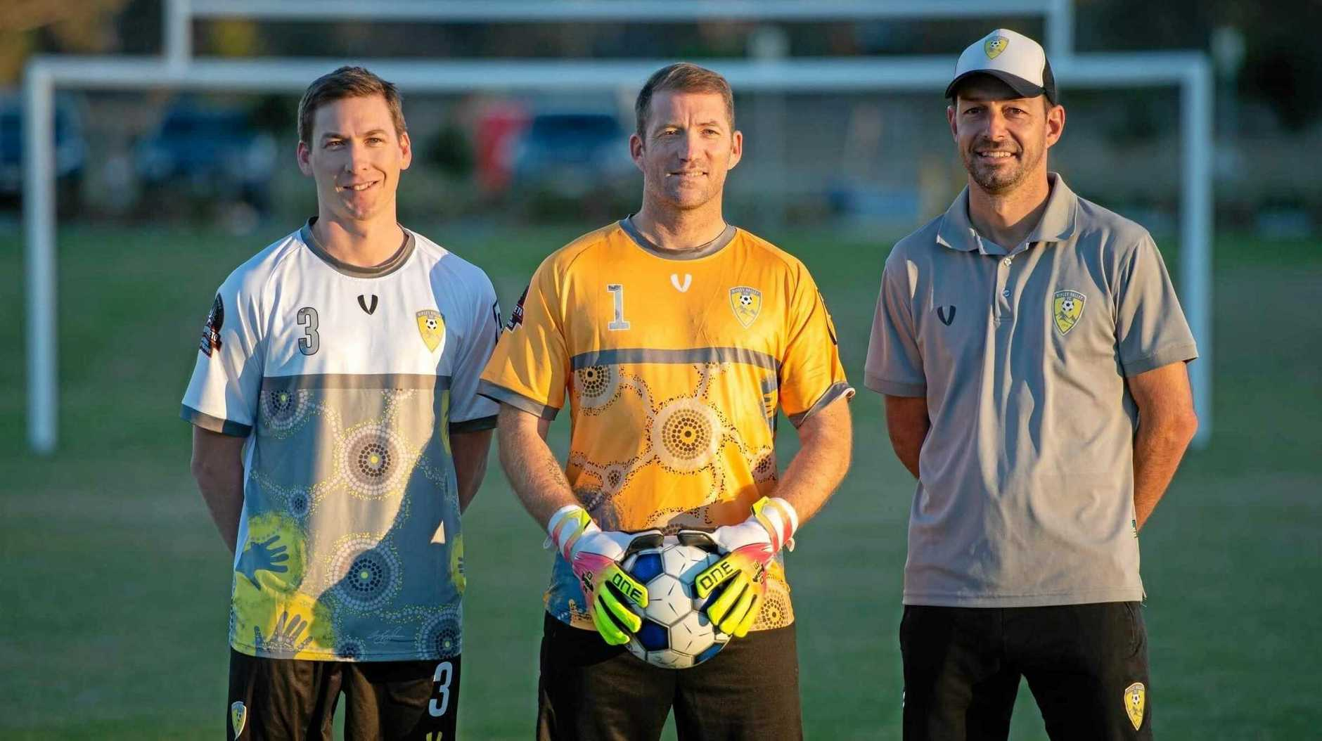 Preparing for Friday night's local derby wearing a special NAIDOC strip are (from left) Ripley Valley FC captain Alex Weatherby and goalkeeping and assistant coach David Wilson, with coach Nick Paterson.