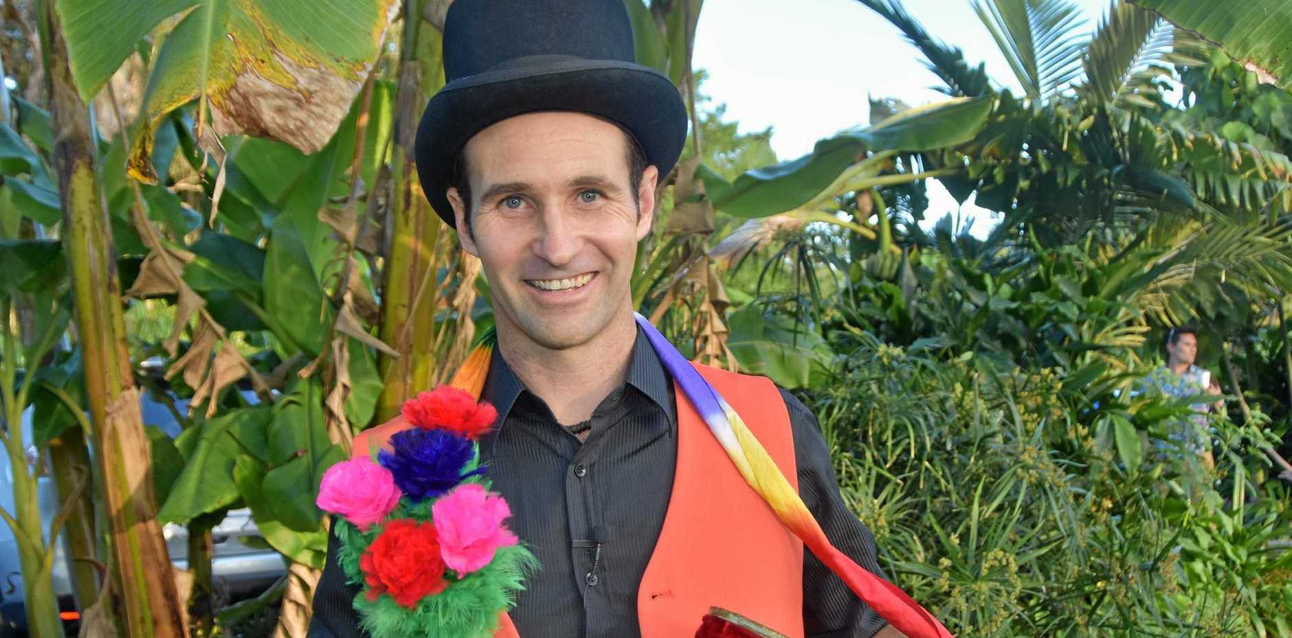 Magician Craig Hubbard combine his love of sleight of hand magicc with the magic of growing fresh produce at Shambhala Farm in Doonan.