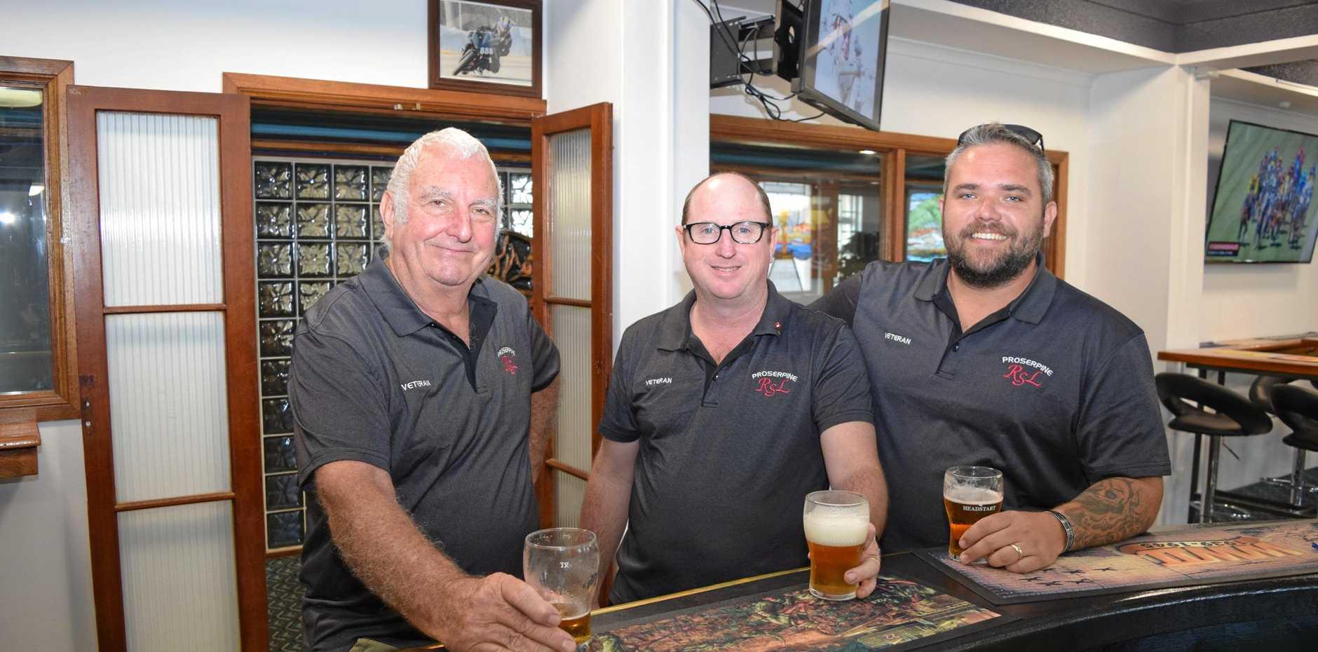 Brian Dunlop, John Hammond and Daniel Hatton at the newly refurbished Proserpine RSL Club.