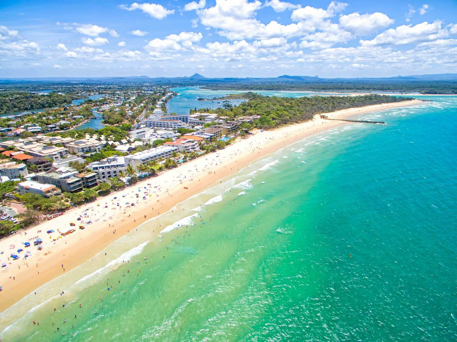 Noosa on the Sunshine Coast in Queensland from an aerial perspective.