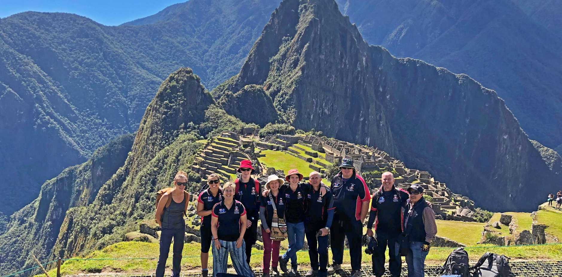 IN THE ANDES: Tour guide Kelci Pike, Whitsunday Anglican School students Rebecca Matijevic, Petrina Matijevic, Jack Hickinbotham, Yvette Iturbe, Lachlan Iturbe, Robert Iturbe, Adam Shield, head of junior school Mick Martin and tour guide Jay.