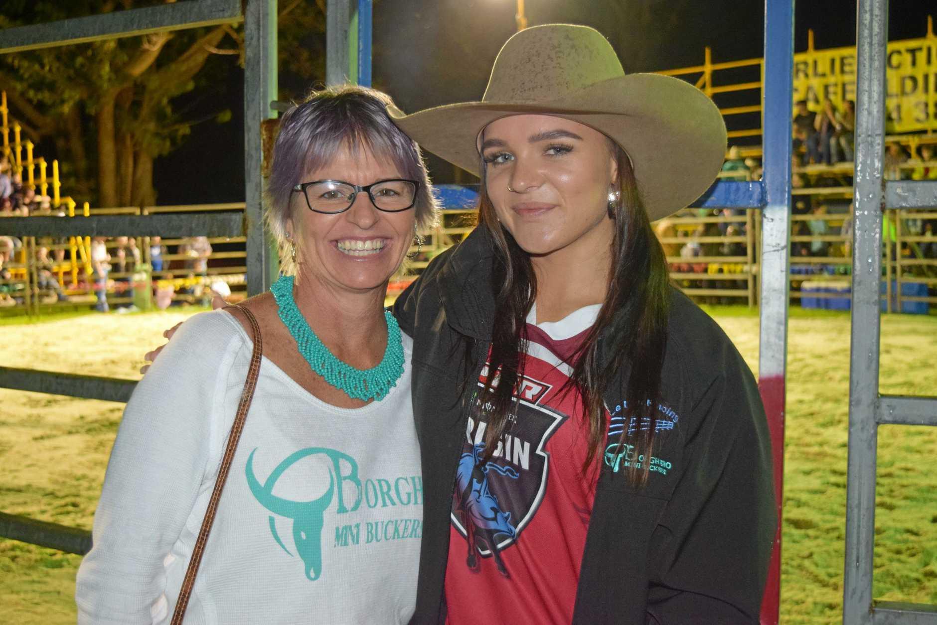 Leah Borghero and Dakota Brandenburg at the rodeo at the Jubilee Tavern and Proserpine Rodeo Association Bullarama on Saturday, July 6.