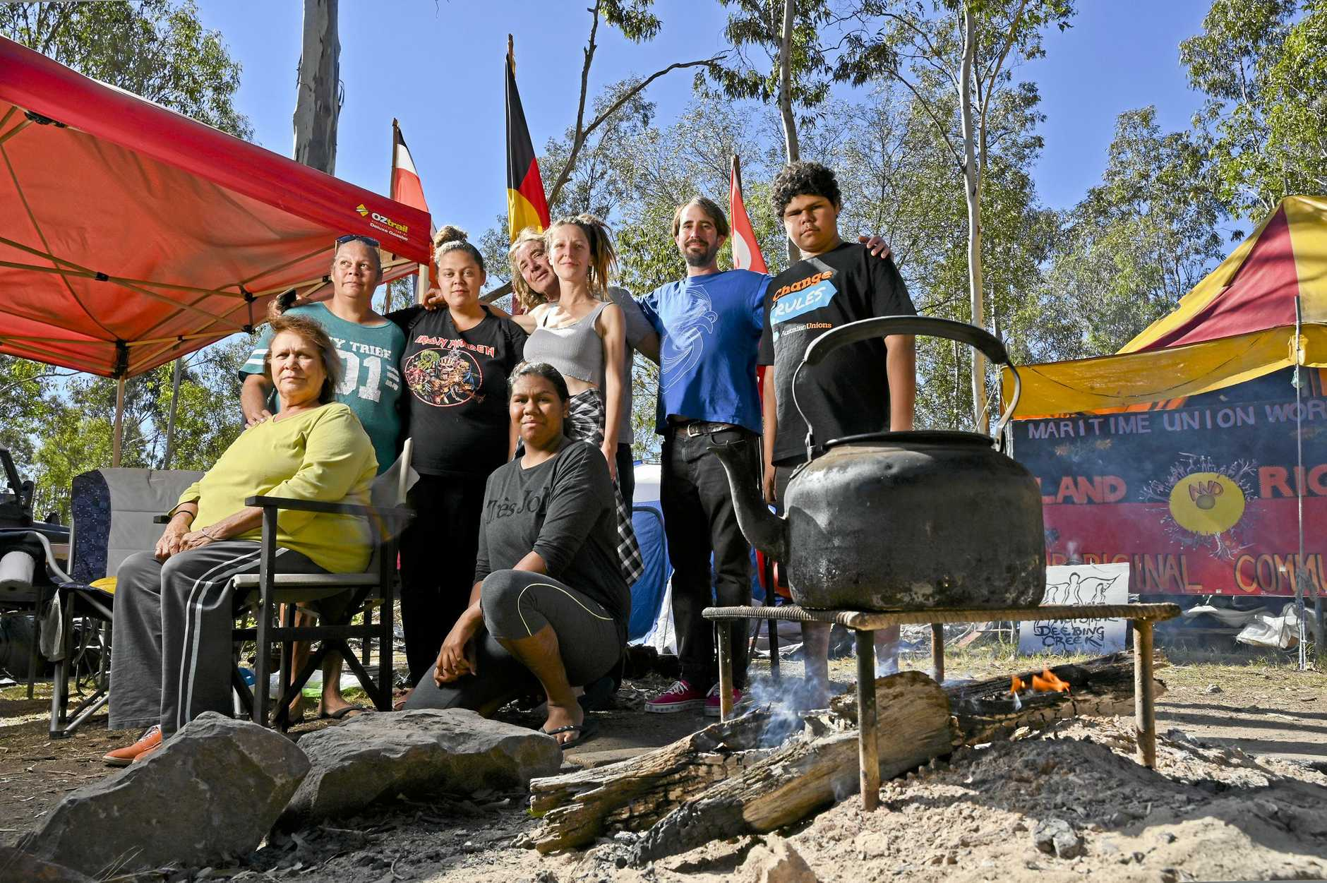 REMAIN: Protestors remain camped out at the Deebing Creek Mission site during NAIDOC Week.